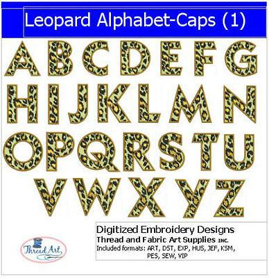 Embroidery Design Set- Leopard Alphabet Caps- 26 Designs - 9 Formats - USB Stick ()
