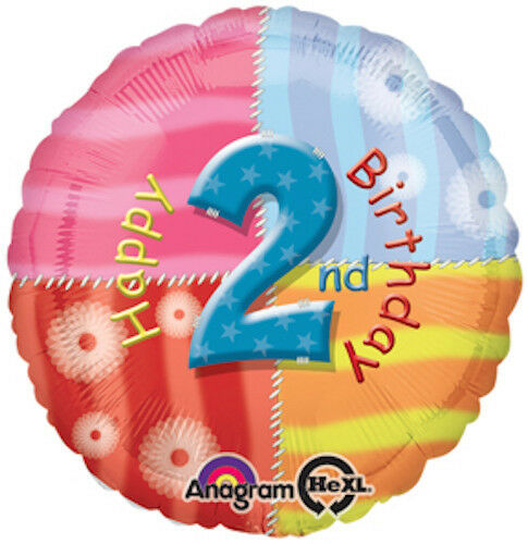 "2nd BIRTHDAY BALLOON 17"" HAPPY BIRTHDAY ANAGRAM HELIUM BALLOON"