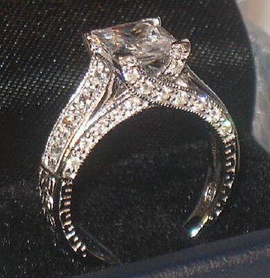 3 Ct Princess Solitaire Antique Diamond Engagement Ring Vintage White Gold Sz 8