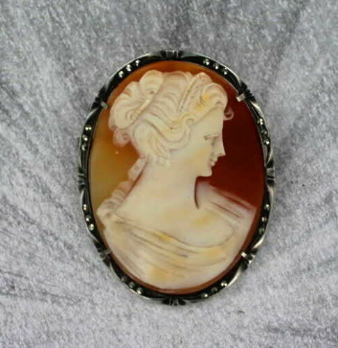 Antique Carved Cameo Pendant-Brooch in Sterling Silver Setting Marcasite