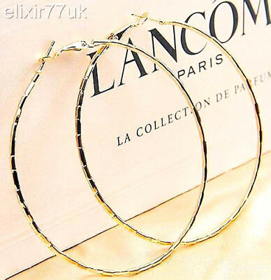 NEW PAIR OF BIG GOLD HOOP EARRINGS HUGE LARGE ROUND GOLD HOOPS CHIC STYLE FAB UK