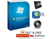 Windows 7 Professional 32/64 SP1 Full Version & License COA Product Key on DVD