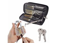 NEW! 25 Pieces Premium Practice Lock Pick Set, Transparent Professional Padlocks + 2 keys