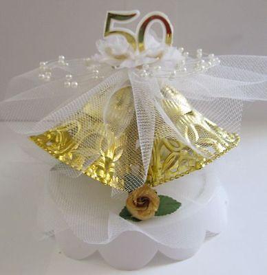 Gold Wedding Cake Top 3 Bells 50th Anniversary Cake Top (50th Anniversary Gold Bells)