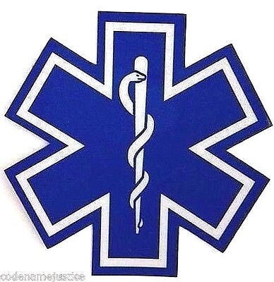 """STAR OF LIFE Highly REFLECTIVE 4"""" x 4"""" Decal  EMS EMT PARAMEDIC Star of Life"""