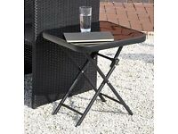 Kingfisher FSDT Folding Drinks Side Garden Patio Table - Black
