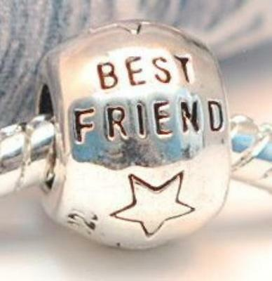 .925 SILVER BEAD EUROPEAN CHARM FOR BRACELET A85 BEST FRIEND FRIENDSHIP