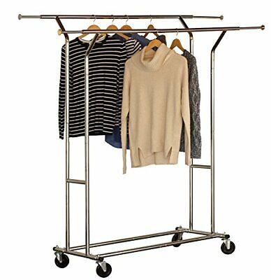 Decobros Supreme Commercial Grade Double Rail Garment Rolling Rack Chrome Finis