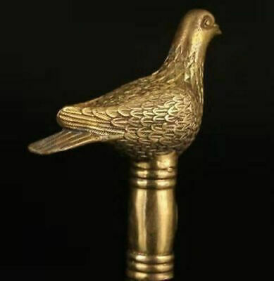 Antique Victorian Walking Stick with Bronze pigeon Head Holding Bird pigeon