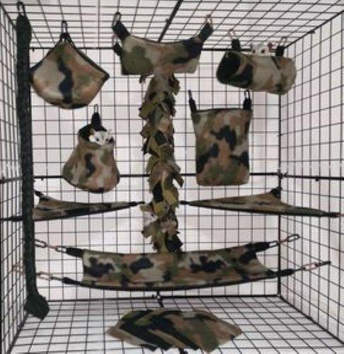 Original Dark Camo *15 PC Sugar Glider Cage set * Rat * double layer Fleece