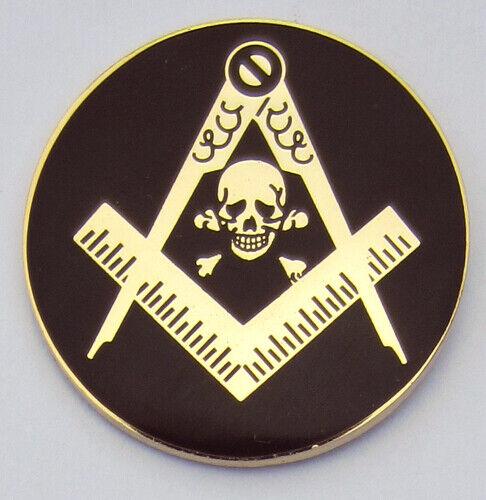 Masonic Square & Compasses w/ Skull Round Lapel Pin Mason (SCA) Freemason