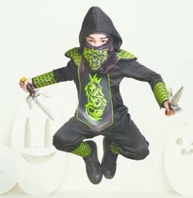 Kids' Light Up Dragon Ninja Black Green Youth Halloween Costume Size M  ()