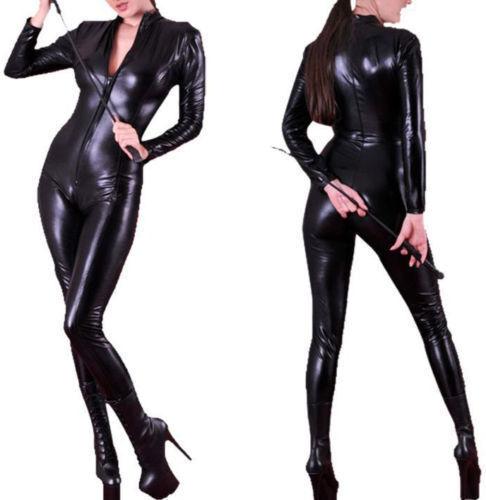 Sexy Ladies Faux Leather Black Wet Look PVC Jumpsuit Cat Women Catsuit Outfit