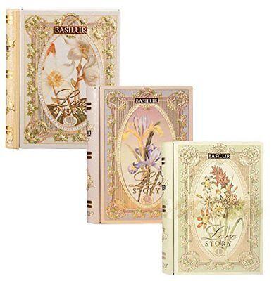 Tea Story Collection - Basilur | Love Story Collection | Tea Book Set Vol l, ll & lll | Metal Tins 100g