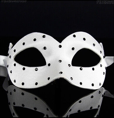 Mask from Venice Wolf Colombine Satin Veloute White a Polka Dots Paper Mache 467