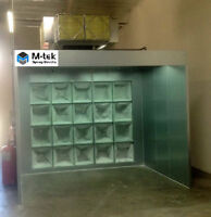 Open face spray booth. Paint booth