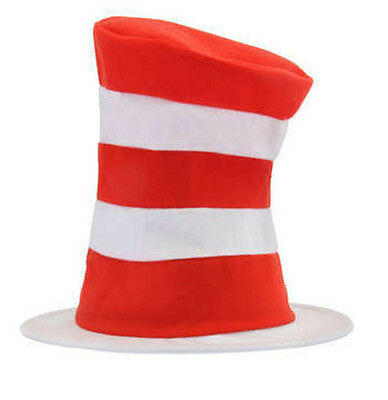 Dr Seuss Top Hat (Adult DR SEUSS Tricot Cat in the Hat Red & White Striped Costume Tall Top)