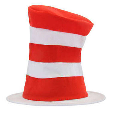 Adult DR SEUSS Tricot Cat in the Hat Red & White Striped Costume Tall Top HAT](Dr Seuss Top Hat)