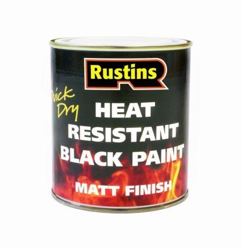 RUSTINS 250ML HEAT RESISTANT BLACK PAINT QUICK DRY FOR METAL & WOOD