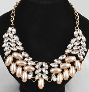 Gold Plated Pearl Crystal Rhinestone Bib Chain Necklace