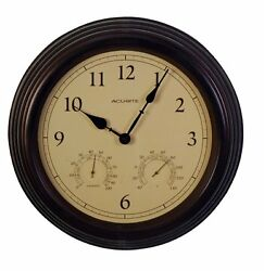 Acurite 15 Copper Patina Indoor Or Outdoor Clock With Thermometer & Humidity