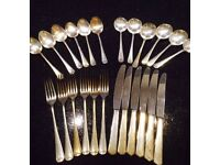 VINTAGE MILITARY ISSUED FINE DINING CUTLERY STAINLESS STEEL SILVER PLATED >1956