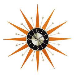 Midcentury Modern Wooden Starburst Clock