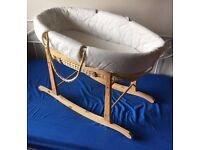 Moses Basket With 2 Mattresses And Basket Liner And Rocking Stand