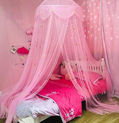 Nattey Princess Bed Canopy Curtain Mosquito Net with Gold Star for Girls Kids...