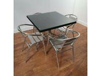 4 Seat Black Rattan Aluminium Outdoor Bistro Table Chair Set 800mm Square Patio