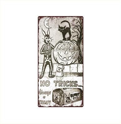 1957 Bunny White Bread Halloween No Tricks Ad JOL Metal Sign 6x12