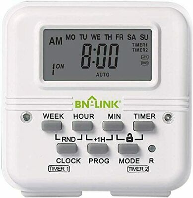 7 Day Heavy Duty Digital independent Programmable Timer Dual two Outlet