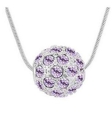 Shamballa Style Silver Light Purple Crystal Disco Ball Pendant Necklace - Disco Ball Pendant Light