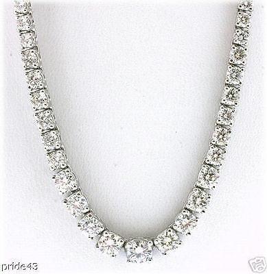 """15 ct Round Graduated Diamond Tennis Necklace G SI 14k white gold, 16"""", GIA 0.76"""