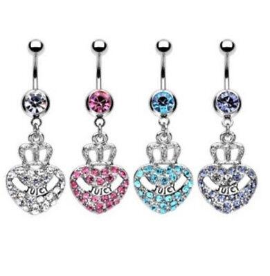 Juicy Heart Crown CZ Gem Belly Ring Navel Naval Clear, Pink, Aqua, -