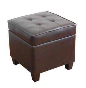 Kinfine Leatherette Tufted Square Storage Ottoman with Hinged Lid Brown - BRAND NEW - FREE SHIPPING