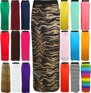 Ladies-Womens-Long-Gypsy-Maxi-Skirt-Style-Jersey-Sexy-Slim-Elasticated