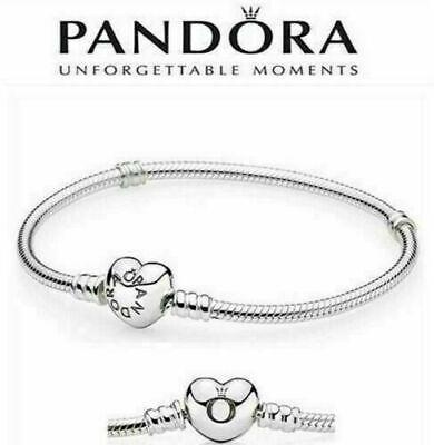 Original PANDORA Moments 925 Sterling Silver Heart Clasp Snake Chain Bracelet