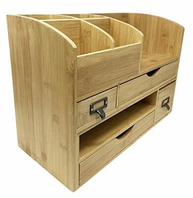 Large Adjustable Wooden Office Desk Organizer For Desktop Tabletop Or