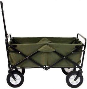 Heavy Duty 4 Wheel Folding Garden Trolley Cart Wagon Hand Pull Wheelbarrow Camp