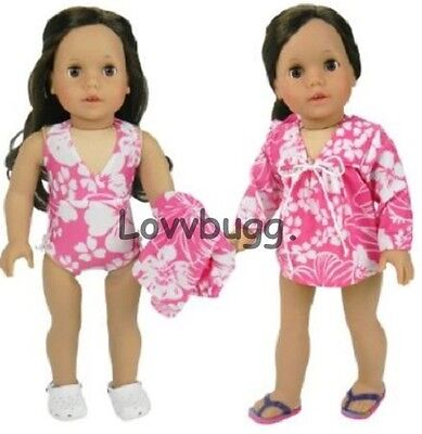 21c6c7c6c41e Lovvbugg Pink Hawaiian Swim Suit with Cover for 18 inch American ...