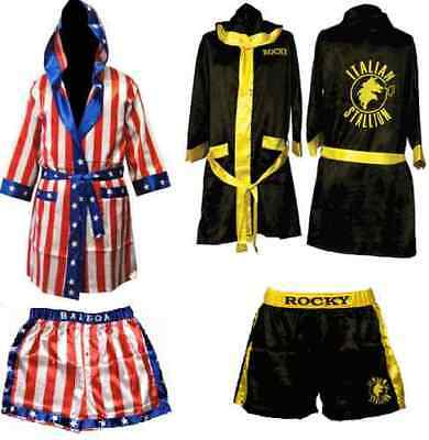 Rocky Balboa Movie Boxing Costume Robe and Shorts American Flag/Italian stallion