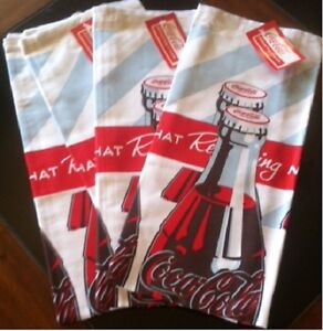 COCA COLA COKE 4PC BOTTLES TOWELS SET  BRAND NEW!!