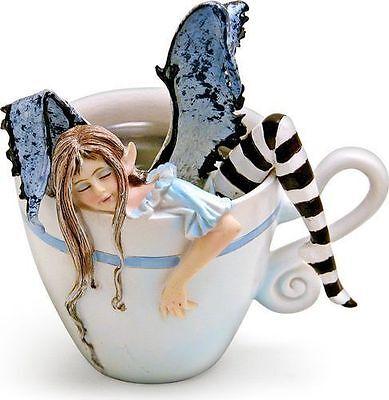 Amy Brown I Need Coffee Faery Fantasy Art Statue Coffee Cup Sleepy Fairy