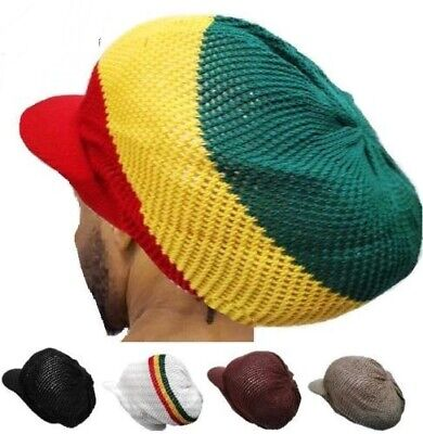 M/L Dreadlocks Rasta Mesh Summer Net Hat Rastafari Jamaica Tam Stripped Knitted ](Dreadlock Hat)