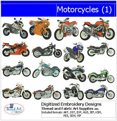 Embroidery Design Set - Motorcycles(1) - 16 Designs - 9 Formats - USB Stick