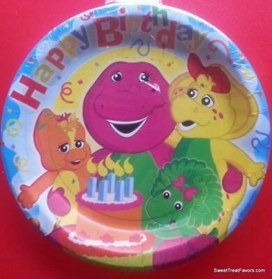 BARNEY Party Birthday Plates Lunch Decoration Dinosaur Baby Bop Supplies 6PC NEW - Barney Birthday Party Supplies