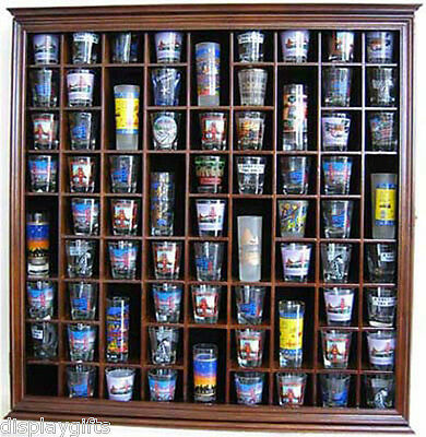 Large Wall Shadow Box Cabinet To Hold 71 Shot Glasses Dis...