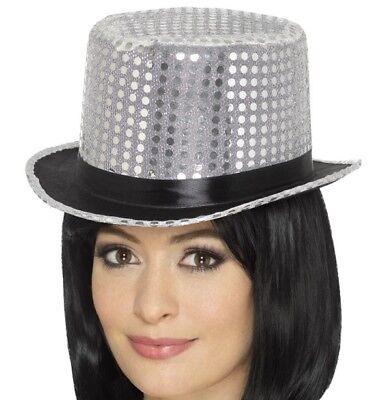 Erwachsene Paillette Zylinder Verkleidung Kostümparty Kabarett Hut Silber von