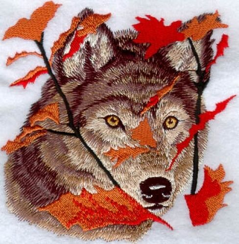 Embroidered Sweatshirt - Autumn Wolf M1236